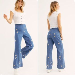 Free People Blue Dixie Daisy Wide Leg Pants Sz 26